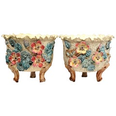 Pair of 19th Century French Hand Painted Ceramic Barbotine Cache Pots