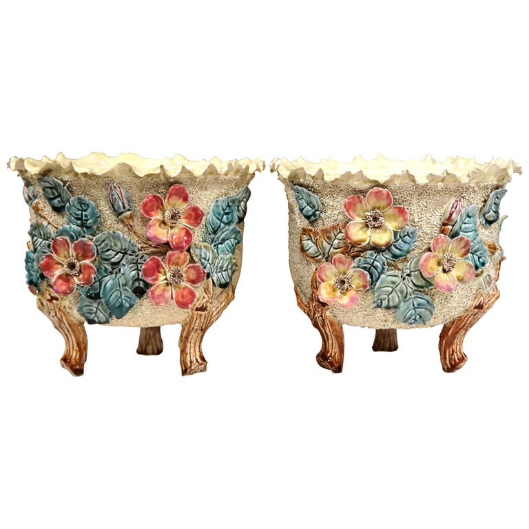Pair of 19th Century French Hand Painted Ceramic Barbotine Cache Pots For Sale