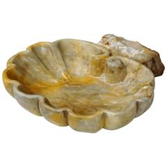 Early 18th Century French Carved Marble Shell Stoup from Private Chapel