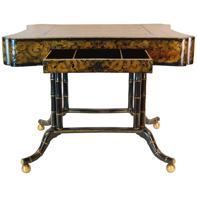 19th Century Chinoiserie Gold Decorated Games Table