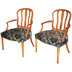 18th Century continental satinwood armchairs