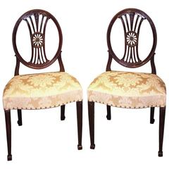 Pair of Late 18th Century Hepplewhite Period Mahogany Side Chairs