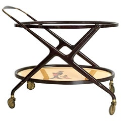 Ebonized Beech Serving Cart in the style of Parisi with Oriental Print, 1950s