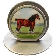 Edwardian Silver and Enamel Shire Horse Menu Holder
