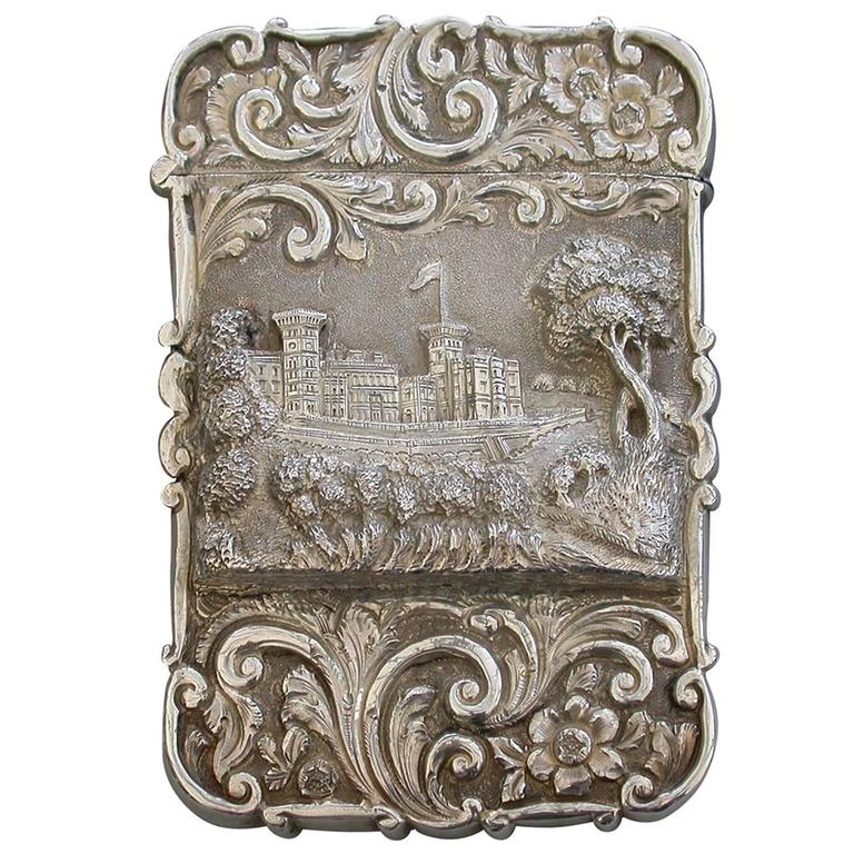 """Victorian Silver Castle-Top Card Case """"Osborne House"""" from the Shrubbery"""