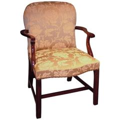 18th Century mahogany armchair upholstered in green fabric