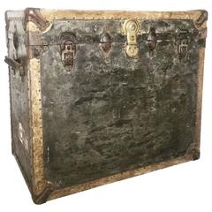 Vintage Very Large Steamer Trunk Coffee Table Bedside Cabinet Luggage Chest