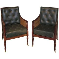 Near Pair of 19th Century Mahogany Library Bergere Chairs
