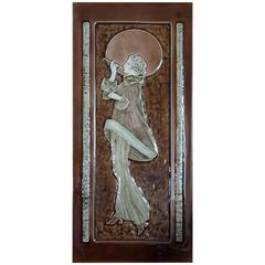 Art Deco Style Majolica Glazed Tile in Relief Lady Smoking in the Moonlight