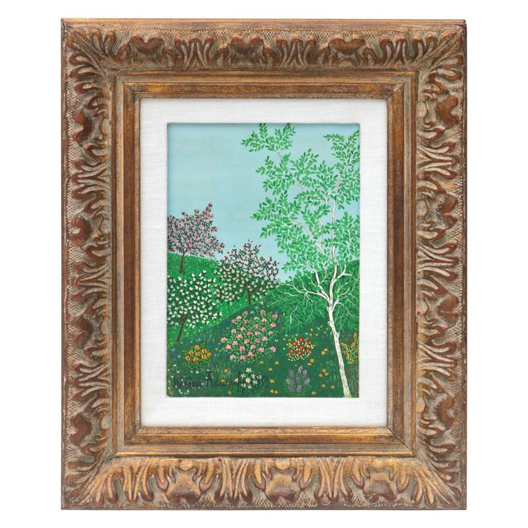 """Mid-Century Oil on Canvas, """"Printemps"""" by Russian Artist Helena Adamoff For Sale"""
