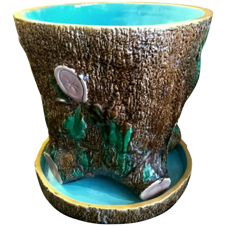 19th Century Tree Stump Planter from Minton Manufacture