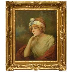 Original Oil on Canvas Portrait of a Lady by Joseph Gies