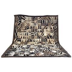 One of a Kind Zebra Hide Mosaic Area Rug