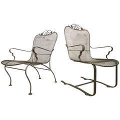 Pair of Vintage Industrial Metal Chairs