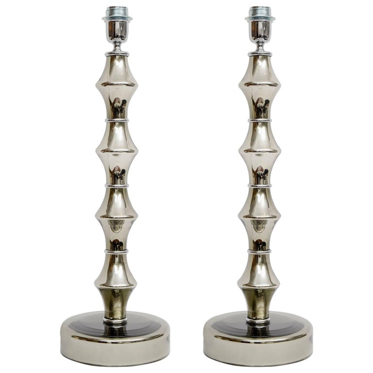 Beautiful and Large Eglomized Glass Pair of Table Lamps For Sale