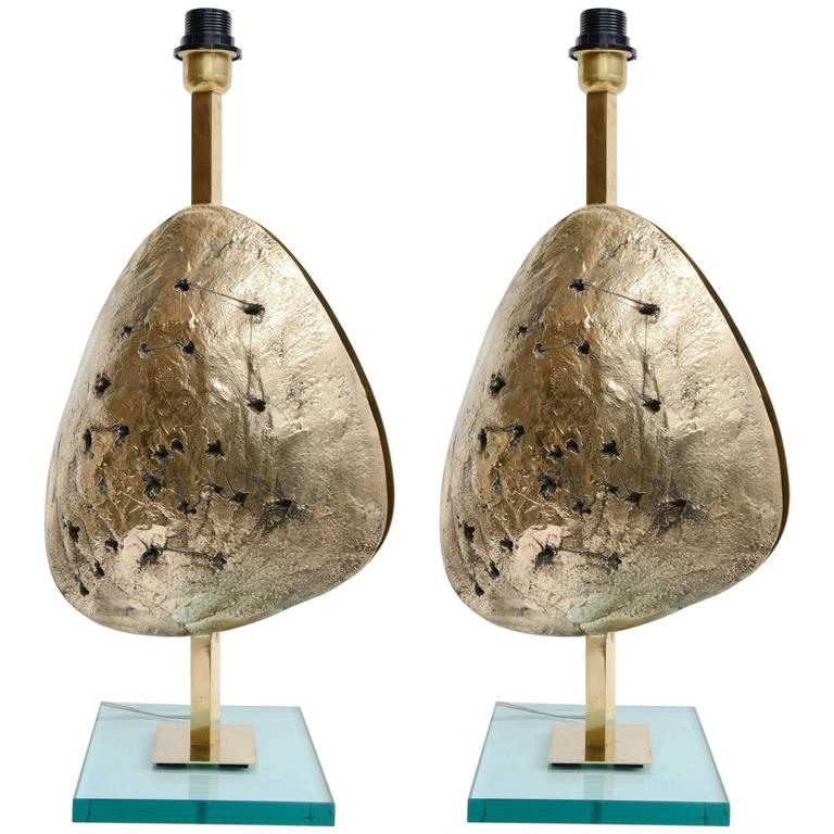 Gorgeous Pair of Lamps in Bronze For Sale