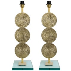 Large and Beautiful Pair of Bronze Table Lamps Original Work