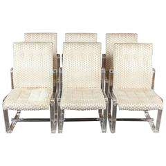 Stunning Vintage Hollywood Regency Lucite High Back Dining Chairs, Set of Six