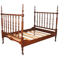 Newly Polished 1930s Walnut Spindle Full Sized Bed Frame