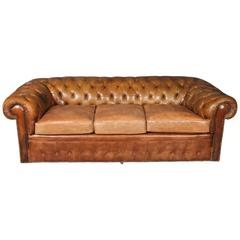 1960s Leather Chesterfield Sofa