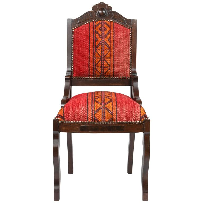 Antique Eastlake Chair in Eastern African Fabric