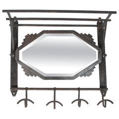 Antique Iron-Framed Beveled Mirror
