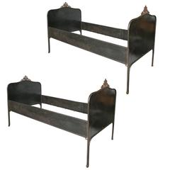 Pair of French Iron Bedsteads