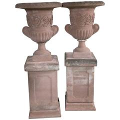 Pair of English Terra Cotta Urns
