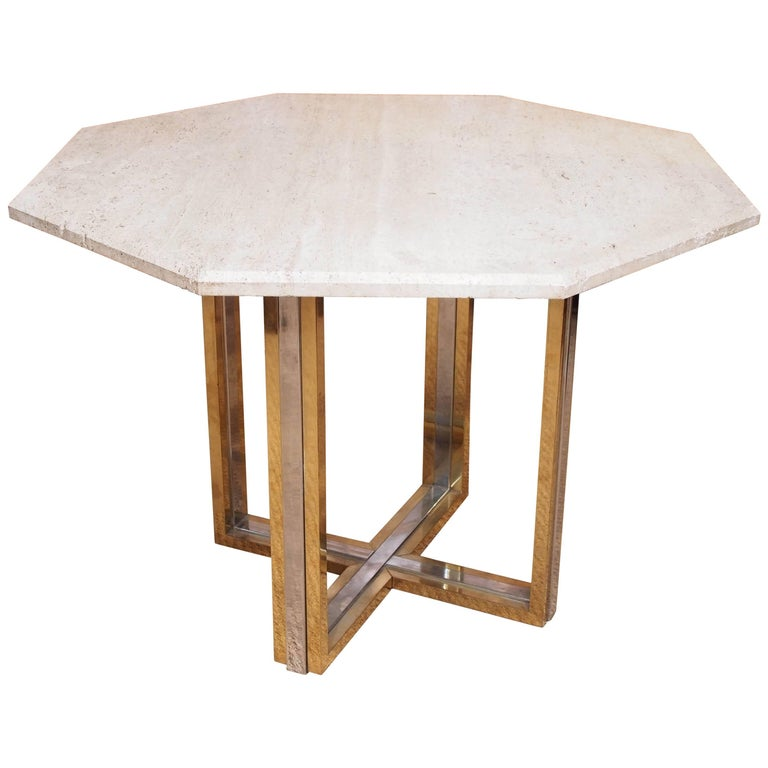 1970 Willy Rizzo Travertine Table