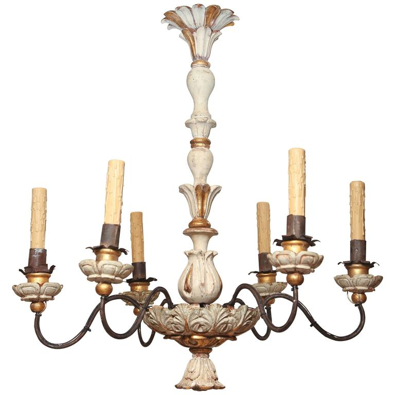 Painted and Parcel-Gilt Italian Six-Arm Chandelier