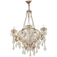 Italian Crystal Basket-Form Six-Light Chandelier