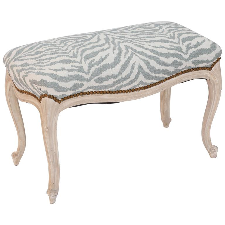 Louis XV Bench with Pickled Wood Finish