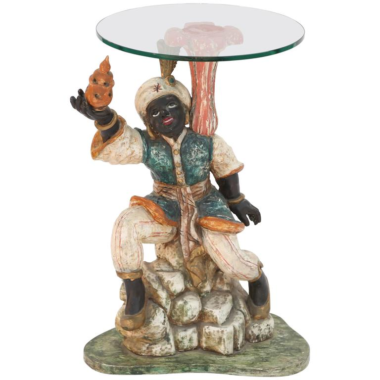 Polychromed Carved Wood Figural Blackamoor Accent Table