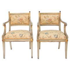 Pair of Scandinavian Painted Open Armchairs
