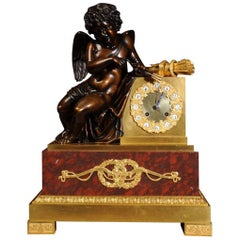 Early and Fine Bronze, Ormolu and Specimen Marble Clock with Cupid
