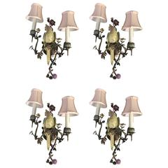Wonderful Set Of Four Hand-Painted Porcelain Bronze Bird Flower Two-Arm Sconces