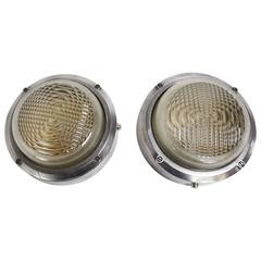 Pair of Vintage Round Industrial Bulkheads