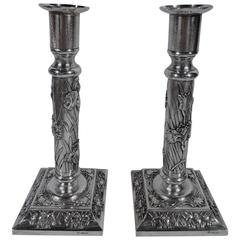 Pair of Beautiful Chinese Export Silver Candlesticks