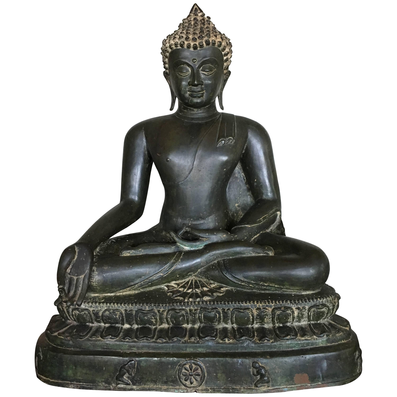 Large Burmese Bronze Medicine Buddha, Pagan Style, Late 19th Century