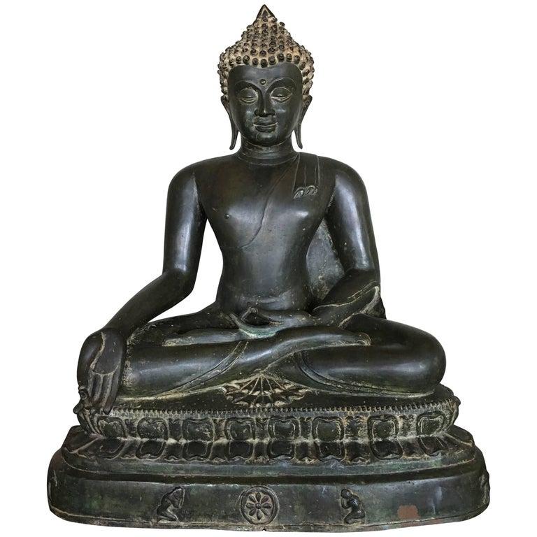 Large Burmese Bronze Medicine Buddha, Pagan Style, Late 19th Century For Sale