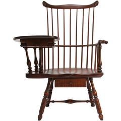Traditional American Pennsylvania Writing Armchair Right-Handed Brass Details