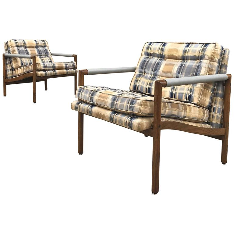 Pair of Mid-Century Modern Harvey Probber Style Upholstered Club Chairs