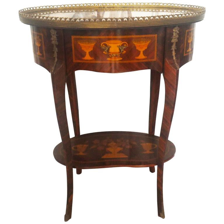 French Gueridon Marquetry Side Table and Gilt Bronze and Brass Ornaments