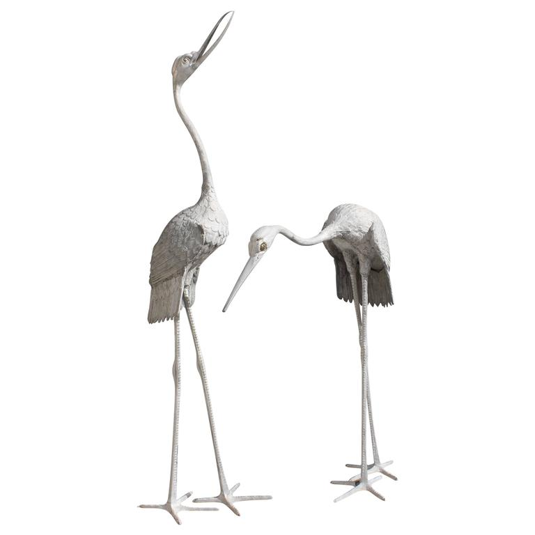 Beautiful Art Deco Pair of Flamingo Sculptures Very Large in Size, circa 1950