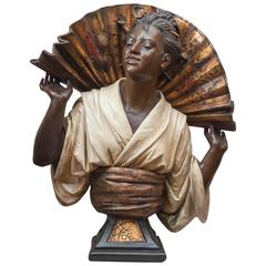Monumental Orientalist Terracotta Bust of a Beautiful Woman