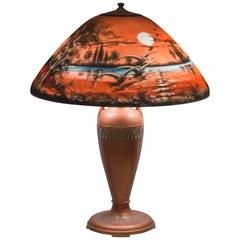Reverse Painted Table Lamp, Moe Bridges Co. Geese Flying in the Moonlight