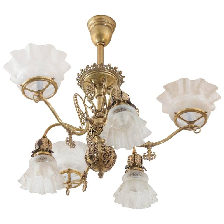 Late Victorian Six Arm Gas And Electric Combination Chandelier For