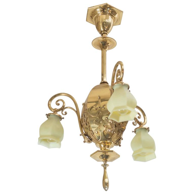 Late Victorian Three-Arm Chandelier with Original Vaseline Glass Shades For Sale