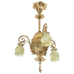 Late Victorian Three-Arm Chandelier with Original Vaseline Glass Shades