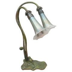 Two-Arm Bronze Lily Lamp with Pulled Feather Shades, Possibly Loetz Co